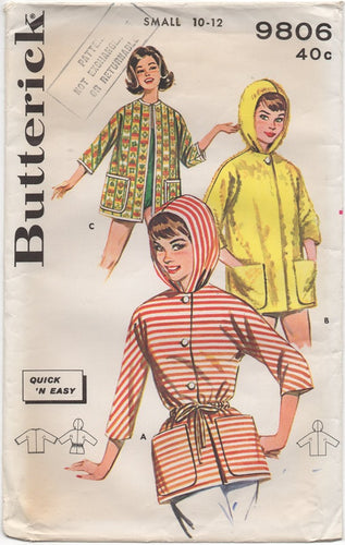 1960's Butterick Jacket with or without Hood Pattern - Bust 31-32
