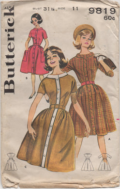 1960's Butterick One Piece Button Up Dress with Contrast Band - Bust 31.5