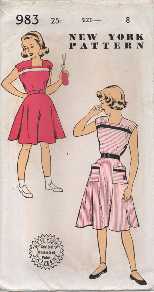 1950's New York Girl's One Piece Dress with Square Neckline and Patch Pockets - Chest 26