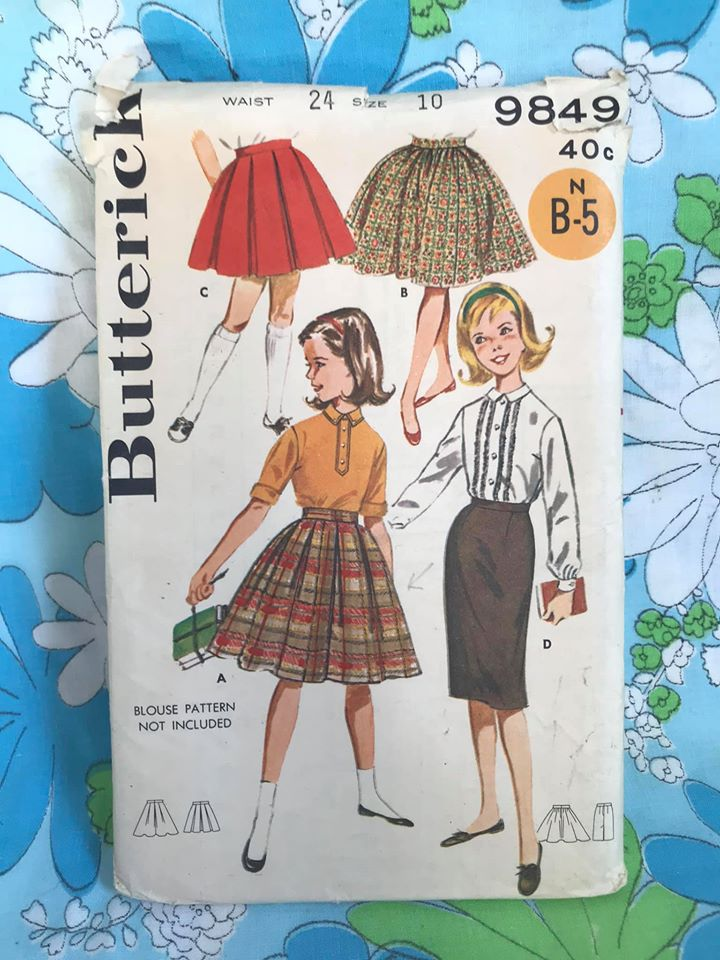 "1960's Butterick Girl's Skirt wardrobe (Pleated, Gather and Straight) - Waist 24"" - No. 9849"