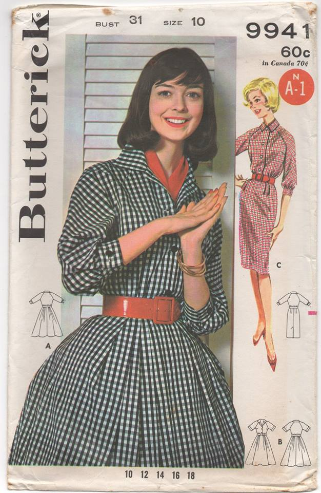 1960's One Piece Raglan Sleeve Dress with Full or Slim Skirt - Bust 31
