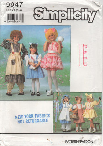 1990's Simplicity Child's Storybook Costume collection Pattern - Size 3-8 - No. 9947