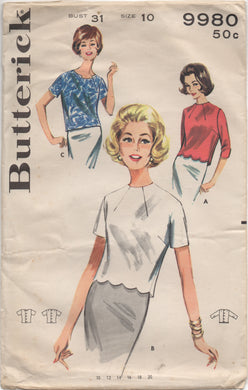 1960's Butterick Blouse with Front Neck Darts and Optional scallops - Bust 31