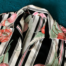 1980's Striped Tulip print Polyester blouse (some stretch)