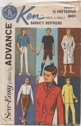 1960's Advance Ken's Wardrobe Pattern