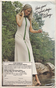 "1970's Nora O'Leary Maxi or Midi Shift Dress pattern with optional crochet accent - Bust 30.5-38"" - Dist. by Salem"