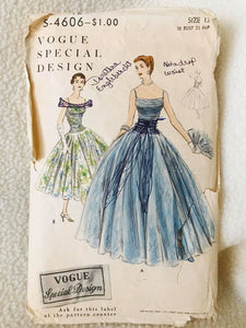 "1950's Vogue Special Design Gathered Bodice Gown - Bust 30"" - No. 4606"