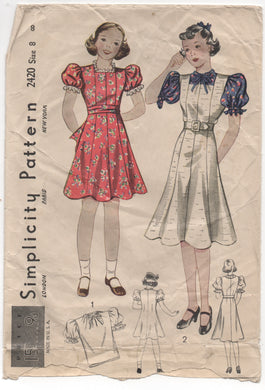 1930's Simplicity Child's Princess line Dress and Blouse - Chest 26