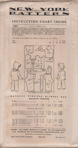 "1940's New York Child's Overalls, Jacket and Cap Pattern - Vtg. Size 2 - Chest 21"" - No. 1823"