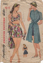"1940's Simplicity Two Pieces Bathing Suit and Dress - Bust 36"" - No. 1022"