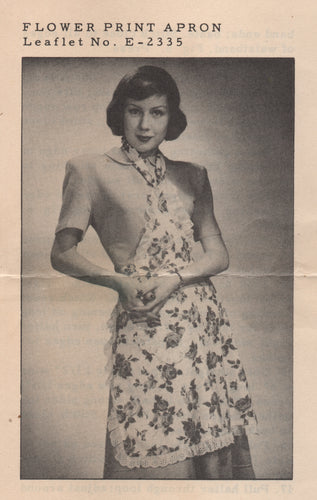 1940's Full Apron Pattern - One Size - From National Needlecraft Bureau - No. 2335 - PDF pattern