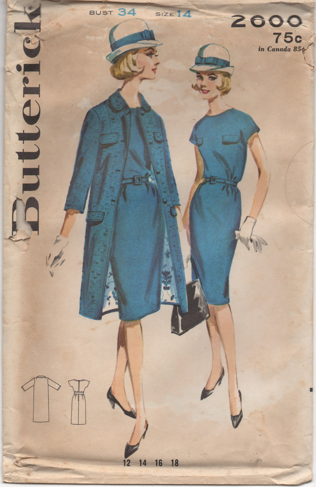 1960's Butterick One Piece Wiggle Dress with Accents and Coat - Bust 34