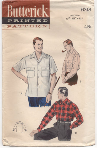 1950's Butterick Men's Button up Shirt with Two Chest pockets - Chest 38-40