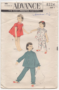 "1950's Advance Child's Two Piece Pajamas with Shorts or pants - Chest 20"" - No. 8224"