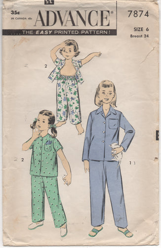 1950's Advance Child's Two Piece Pajamas - Chest 24