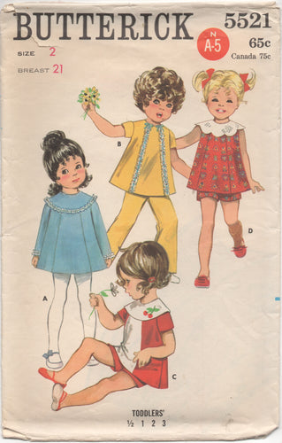 1960's Butterick Child's Dress, Pants and Shorts- Chest 21
