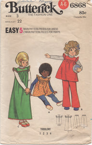 "1960's Butterick Child's Yoked Dress and pants - Chest 22"" - No. 6868"