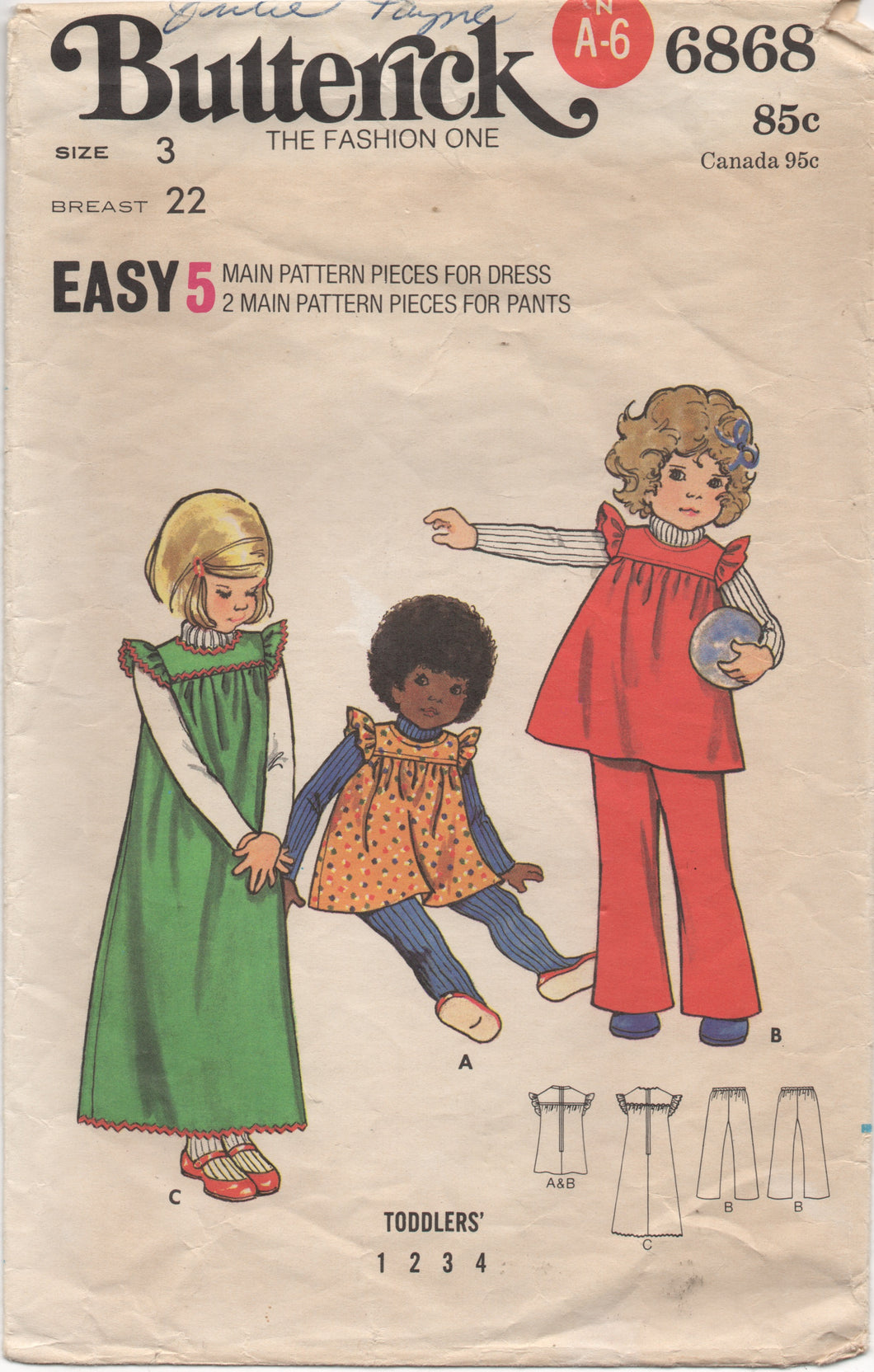1960's Butterick Child's Yoked Dress and pants - Chest 22