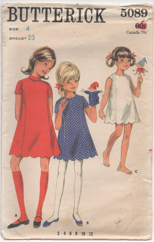 1960's Butterick Child's One Piece Dress with mandarin collar or scallops - Chest 23