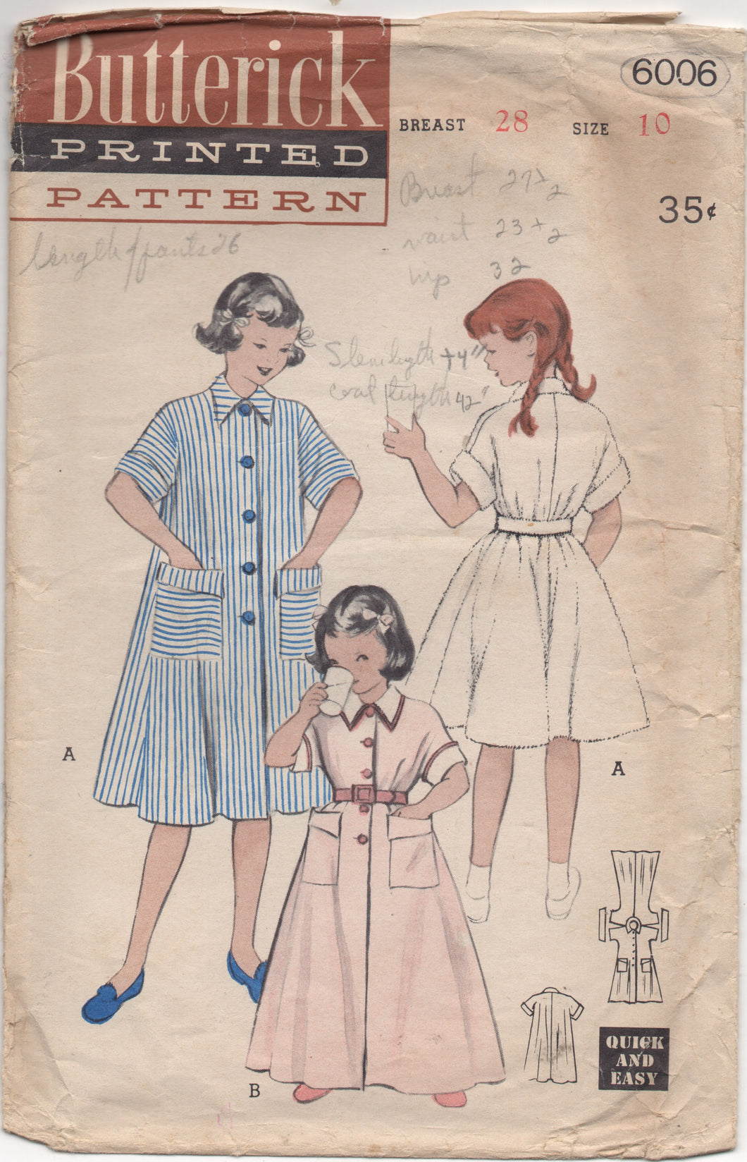 1950's Butterick Child's Duster or Housecoat - Chest 28