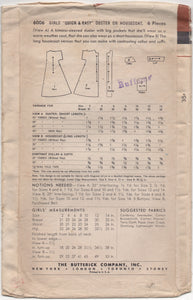 "1950's Butterick Child's Duster or Housecoat - Chest 28"" - No. 6006"