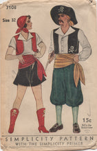 "1930's Simplicity Pirate Costume for Men and Women, includes Hat - Chest 32"" - No. 7108"
