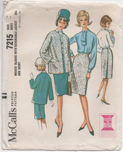"1960's McCall's Blouse, Jacket and Skirt -Bust 34"" - no. 7215"