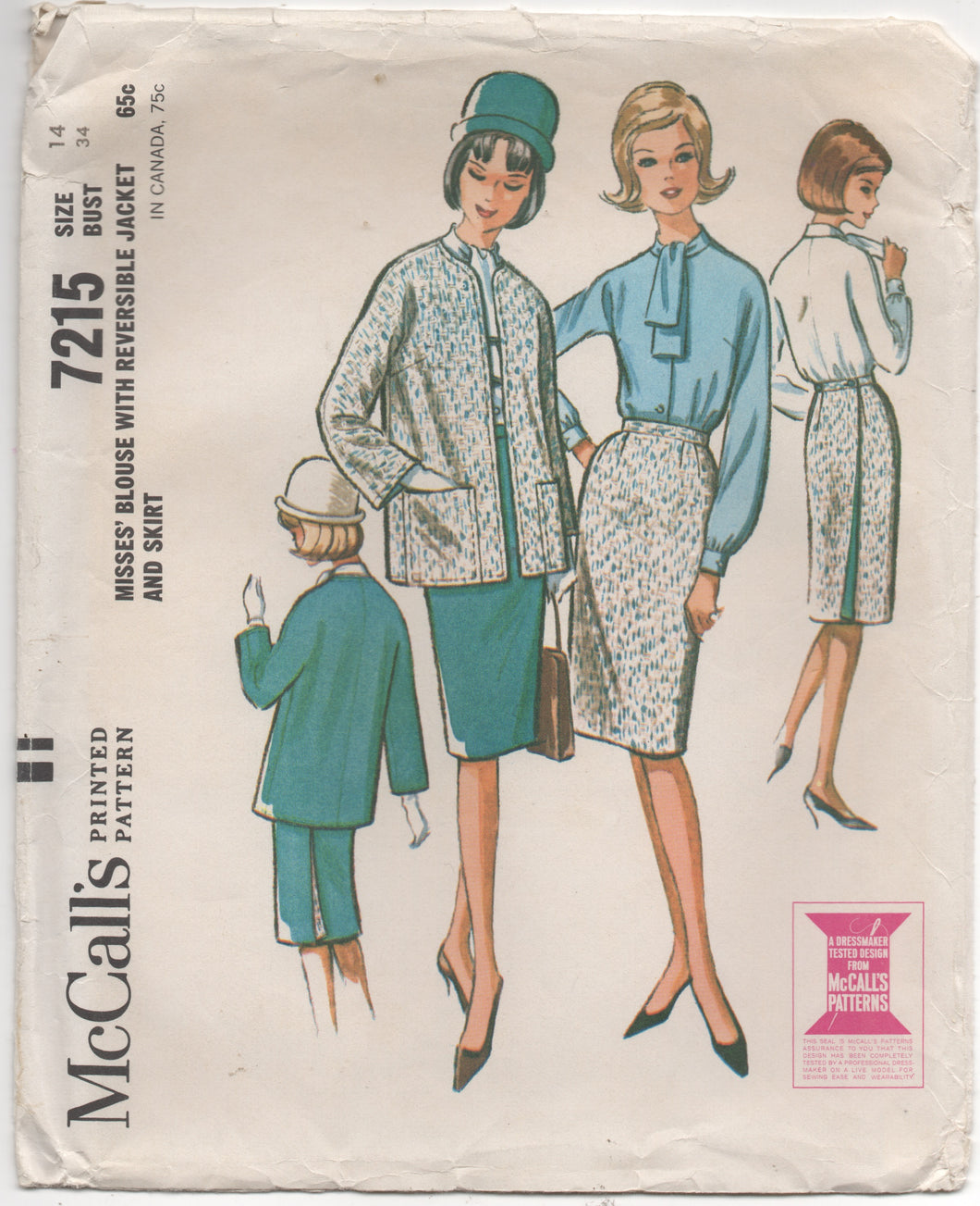 1960's McCall's Blouse, Jacket and Skirt -Bust 34