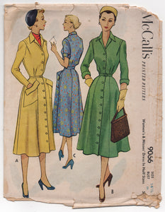 "1950's McCall's One Piece Button up Dress with Large Pockets - Bust 34"" - No. 9066"