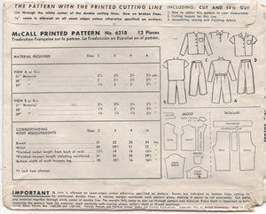 "1940's McCall Child's Two Piece Pajamas - Chest 22"" - No. 6218"