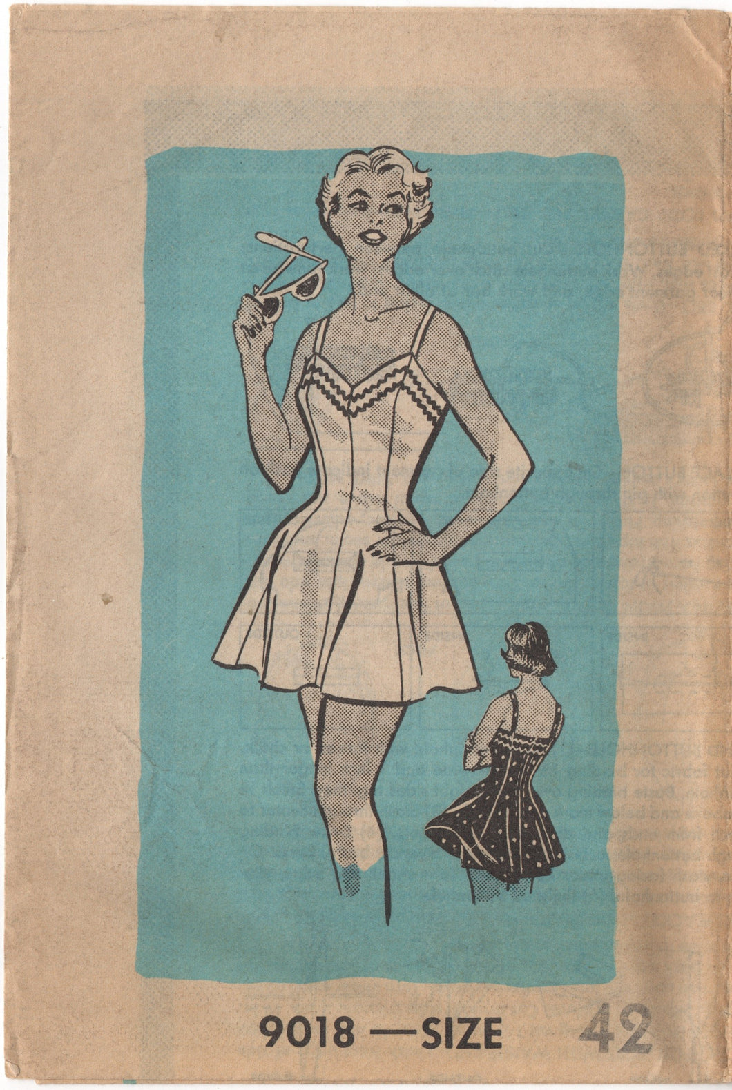 1950's Mail Order One Piece Swimsuit pattern - Bust 42