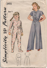 1940's Simplicity One Piece Sleeper Pajamas with or without footies - 4T - No. 3493