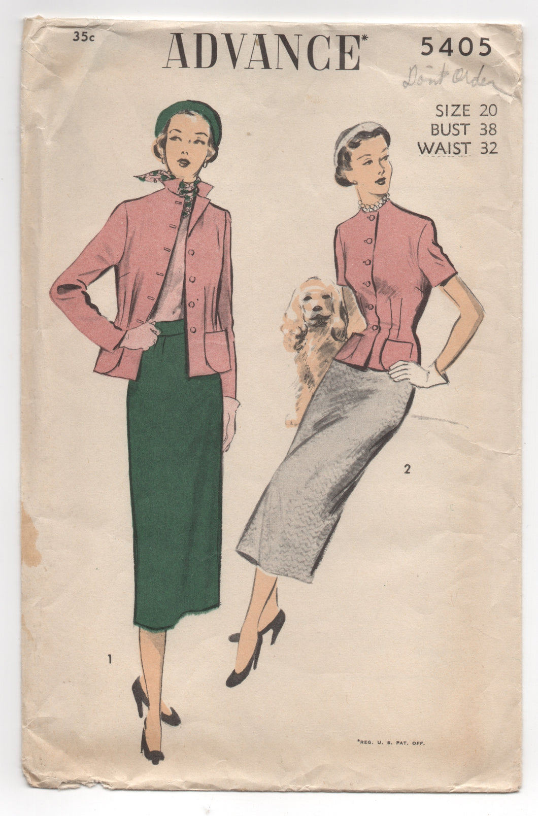 1950's Advance Jacket with Nipped Waist and Straight Skirt - Bust 38