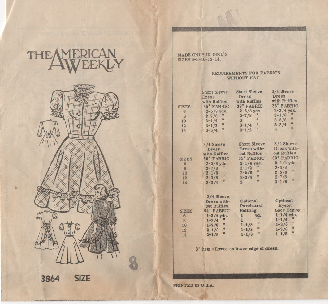 1940's American Weekly Girl's Shirtwaist Dress - Size 8 - No. 3864