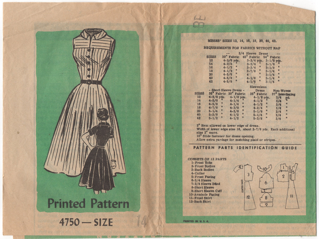 1960's Mail Order Shirtwaist Dress with Round Collar and Yoked Bodice - Bust 34
