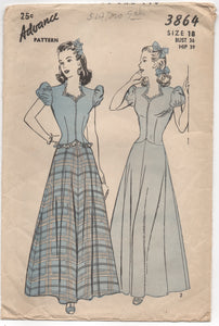 "1940's Advance One Piece Formal Dress with Puff Sleeves - Bust 36"" - No. 3864"