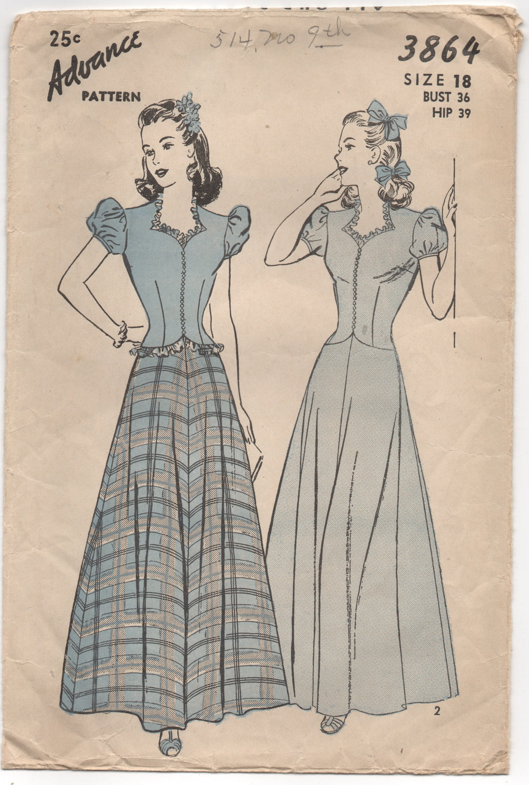 1940's Advance One Piece Formal Dress with Puff Sleeves - Bust 36