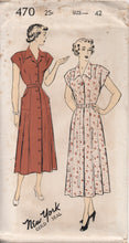 "1950's New York One Piece Dress Button up front and oversize Pockets - Bust 42"" - UC/FF - No. 470"