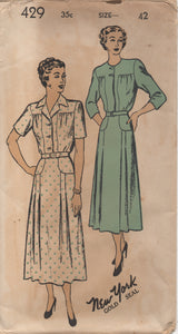 "1940's New York One Piece Dress with Large Yoke and Skirt Yoke - Bust 42"" - UC/FF - No. 429"