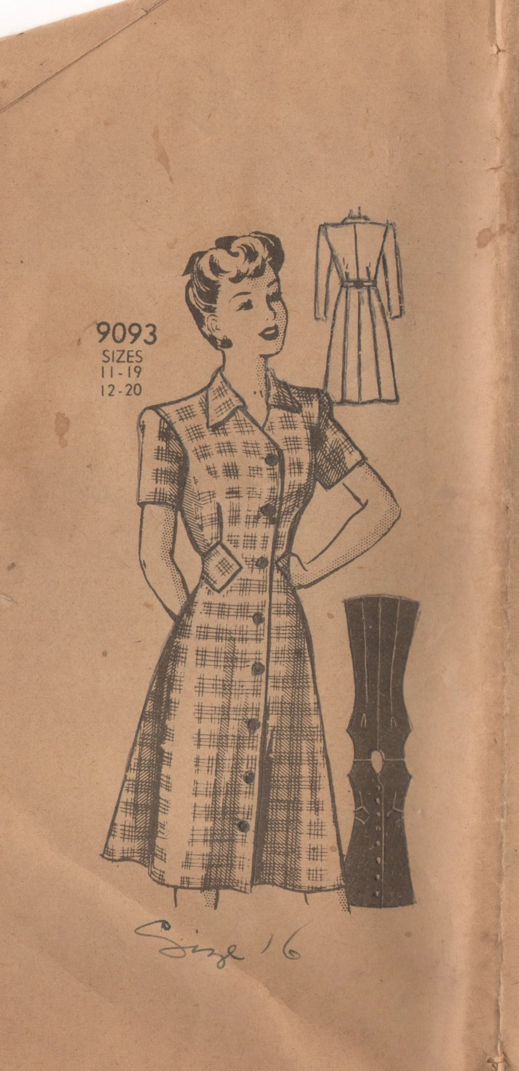 1940's Marian Martin One Piece Button-Up Dress with Waist insets - Bust 34