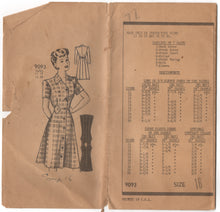 "1940's Marian Martin One Piece Button-Up Dress with Waist insets - Bust 34"" - No. 9093"