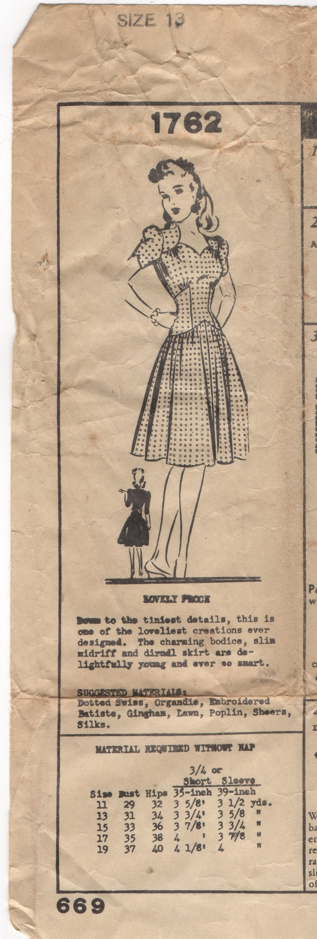 1940's Mail Order One Piece Dress with Sweetheart Neckline, Drop Waist - Bust 31