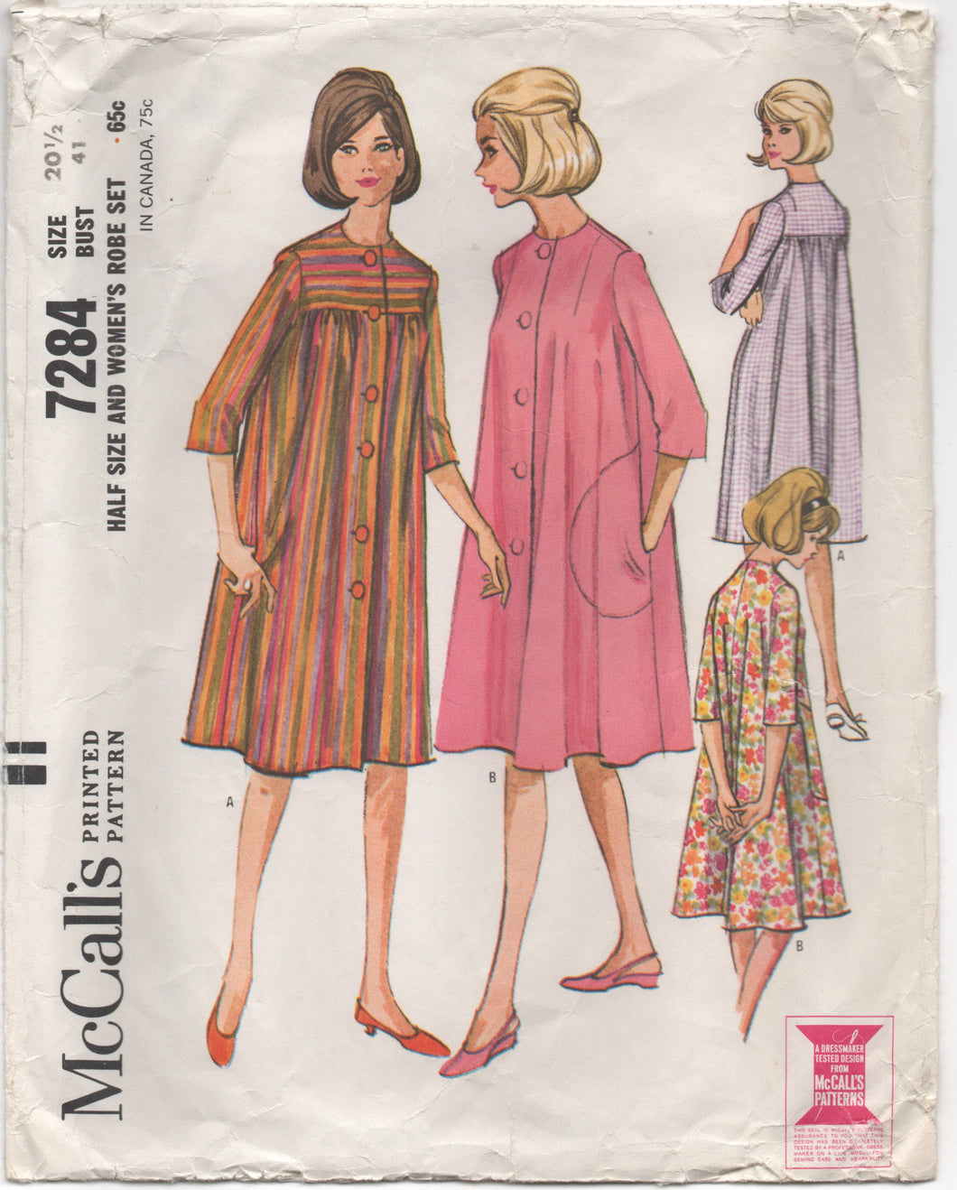 1960's McCall's Robe in Two Styles Pattern - Bust 41