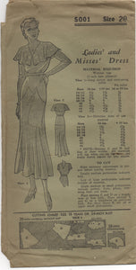 "1930's Mail Order One Piece Dress with Drop Waist and Capelet - Bust 38"" - No. 5001"