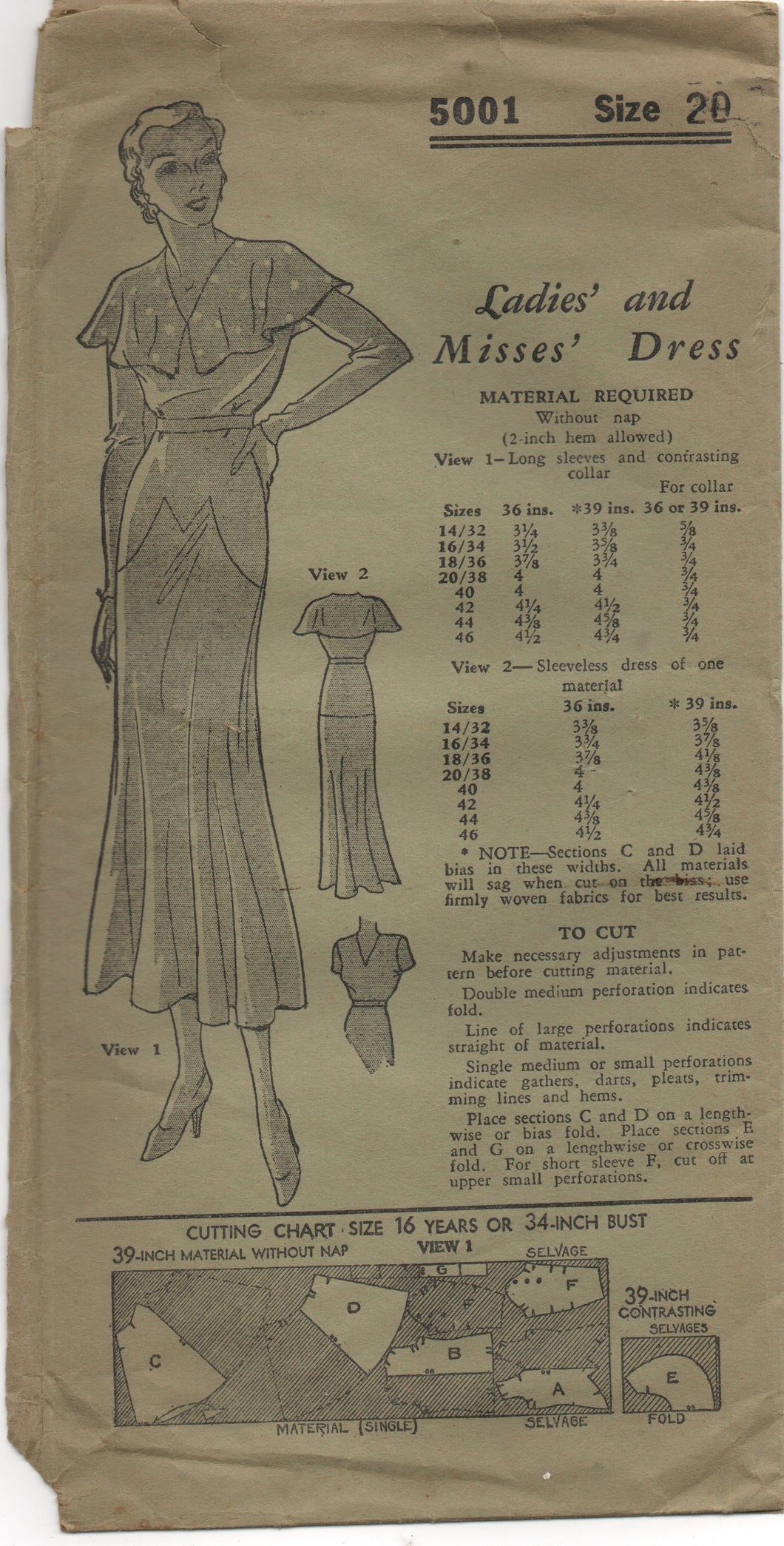 1930's Mail Order One Piece Dress with Drop Waist and Capelet - Bust 38