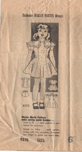 "1940's Marian Martin Girl's Dress with Yoke detail and Double Sleeve - Breast 24"" - No. 9275"