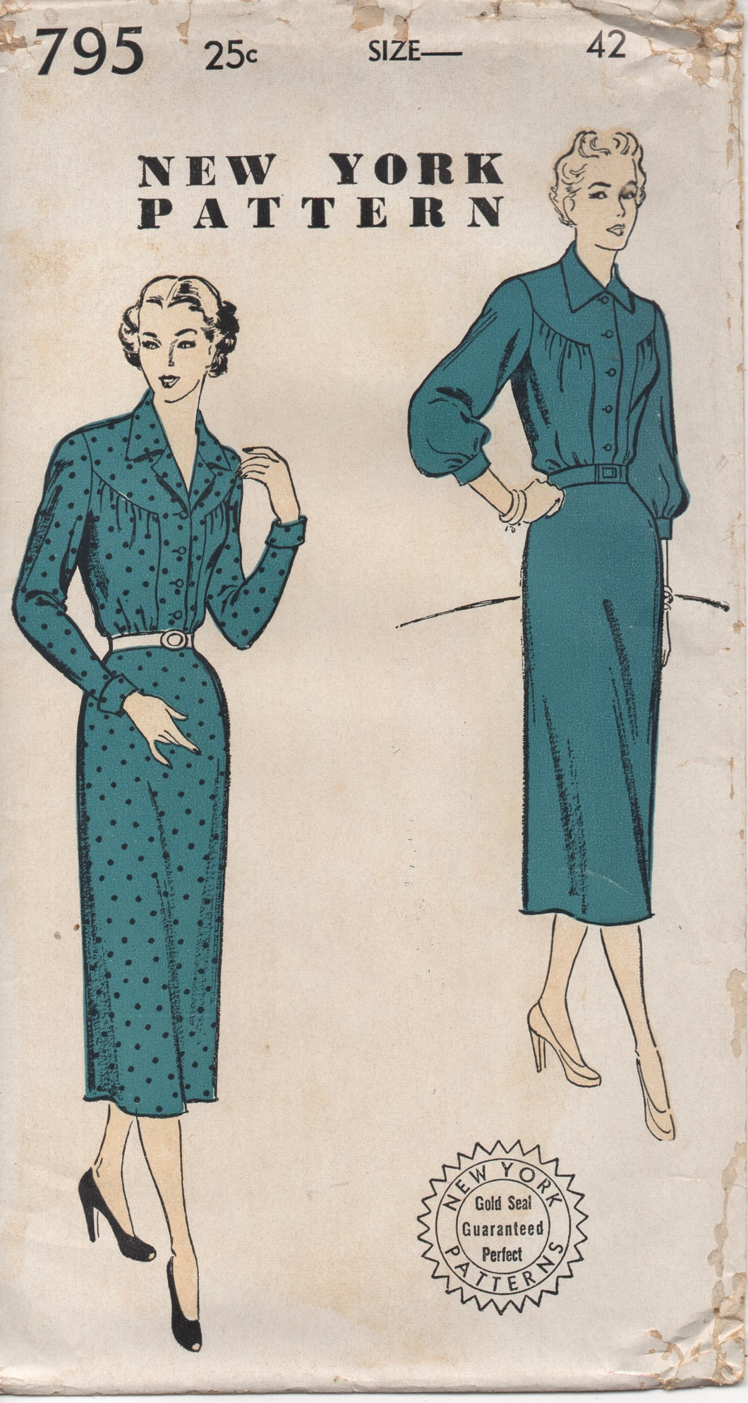 1950's New York One Piece Dress with Large Round Yoke and Slim or Bishop Sleeve - Bust 42