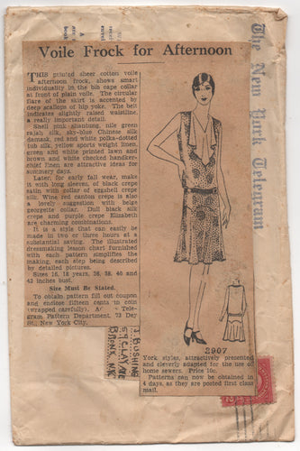 1920's Mail Order Drop Waist Dress with bib front - Bust 40