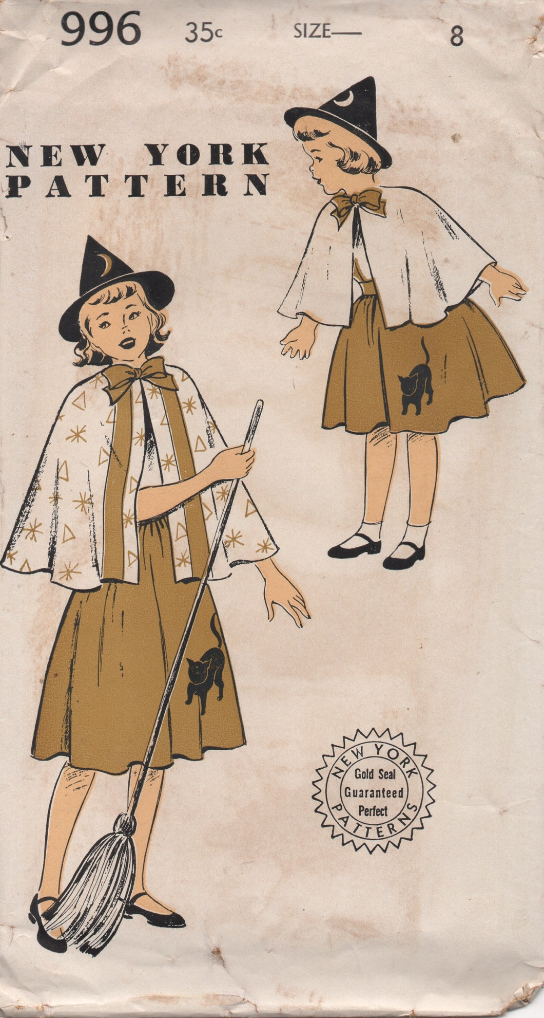 1940's New York Girl's Witch Costume with Hat and Cat and moon appliques - Bust 26