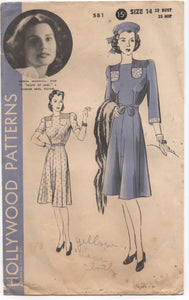 "1940's Hollywood One Piece Dress with Tucked Yoke and Breast Pocket and Belt - Bust 32"" - No. 581"